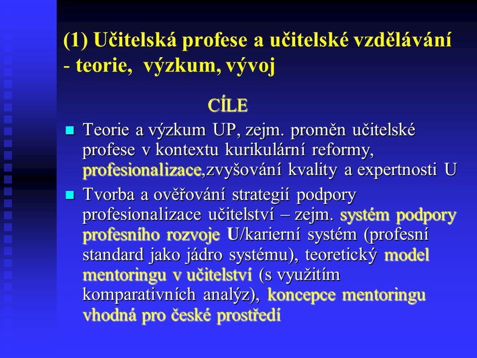 (1) Učitelská profese a učitelské vzdělávání - teorie, výzkum, vývoj CÍLE Teorie a výzkum UP, zejm. proměn učitelské profese v kontextu kurikulární re