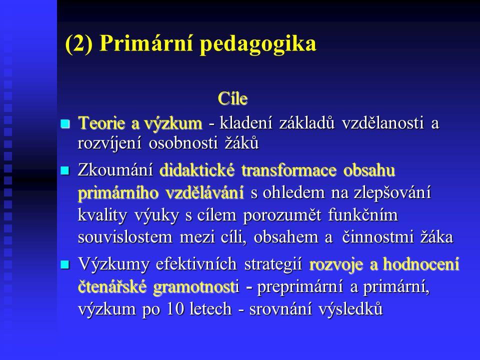 (2) Primární pedagogika Cíle Cíle Výzkumy inovací a efektivity výuky prvouky a vlastivědy a inovací v oblasti cizojazyčné výuky (bilingvní vzdělávání, metoda CLIL) Výzkumy inovací a efektivity výuky prvouky a vlastivědy a inovací v oblasti cizojazyčné výuky (bilingvní vzdělávání, metoda CLIL) Zkoumání strategií k podpoře individualizace výuky a inkluze, péče o nadané žáky, o žáky se specifickými poruchami učení a chování, o děti ze socio - kulturně znevýhodněného prostředí, děti cizinců.