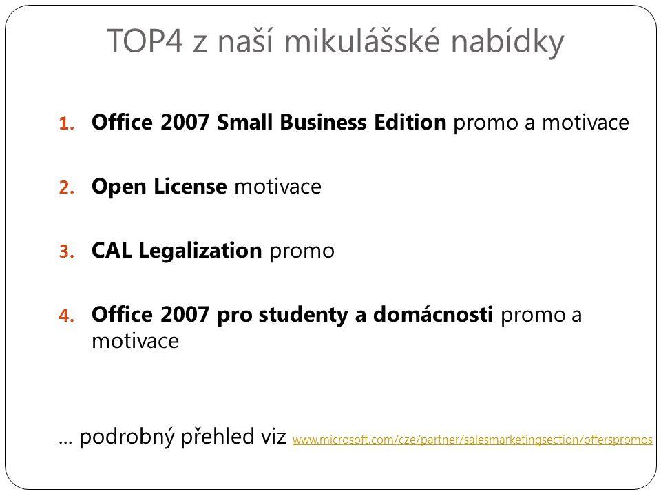 TOP4 z naší mikulášské nabídky 1. Office 2007 Small Business Edition promo a motivace 2.