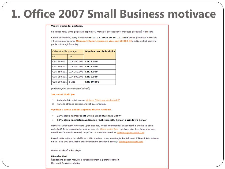 1. Office 2007 Small Business motivace
