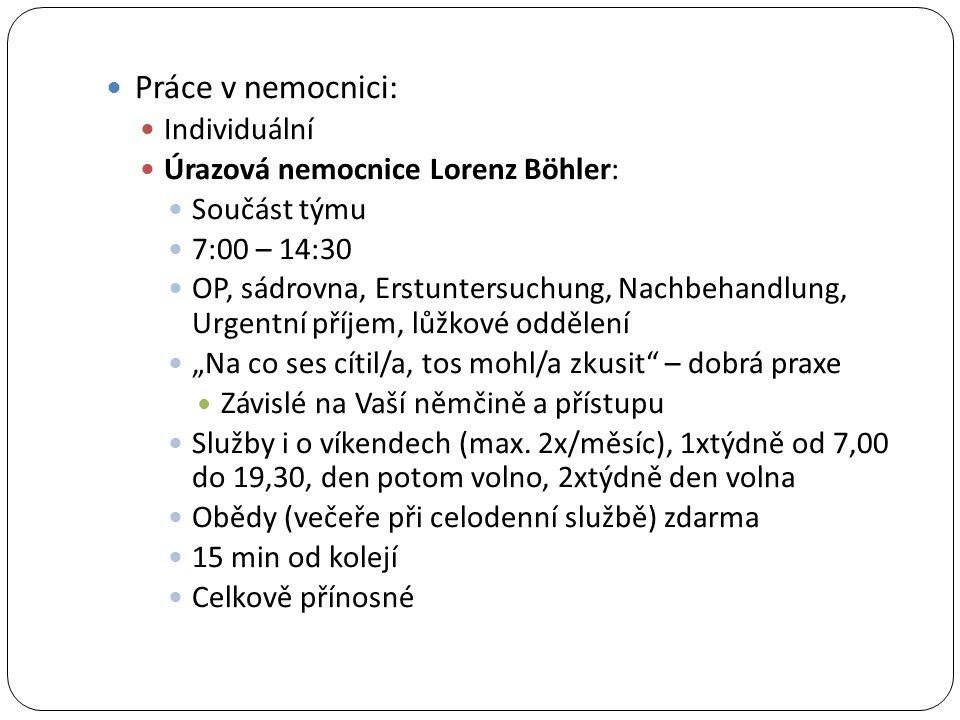 Práce v nemocnici: Individuální Úrazová nemocnice Lorenz Böhler: Součást týmu 7:00 – 14:30 OP, sádrovna, Erstuntersuchung, Nachbehandlung, Urgentní př