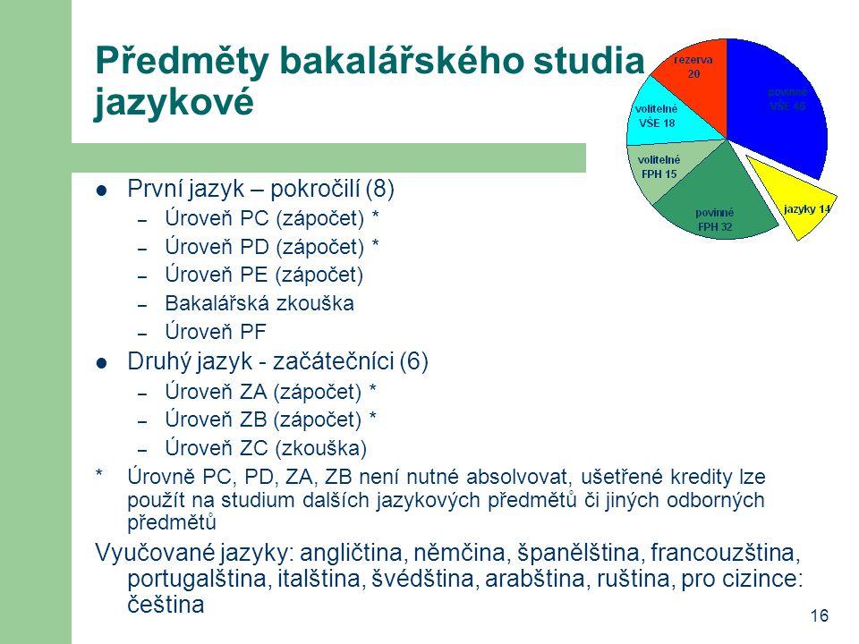 16 Předměty bakalářského studia jazykové První jazyk – pokročilí (8) – Úroveň PC (zápočet) * – Úroveň PD (zápočet) * – Úroveň PE (zápočet) – Bakalářská zkouška – Úroveň PF Druhý jazyk - začátečníci (6) – Úroveň ZA (zápočet) * – Úroveň ZB (zápočet) * – Úroveň ZC (zkouška) *Úrovně PC, PD, ZA, ZB není nutné absolvovat, ušetřené kredity lze použít na studium dalších jazykových předmětů či jiných odborných předmětů Vyučované jazyky: angličtina, němčina, španělština, francouzština, portugalština, italština, švédština, arabština, ruština, pro cizince: čeština