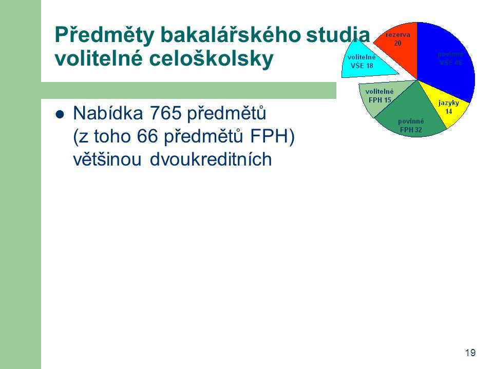 19 Předměty bakalářského studia volitelné celoškolsky Nabídka 765 předmětů (z toho 66 předmětů FPH) většinou dvoukreditních