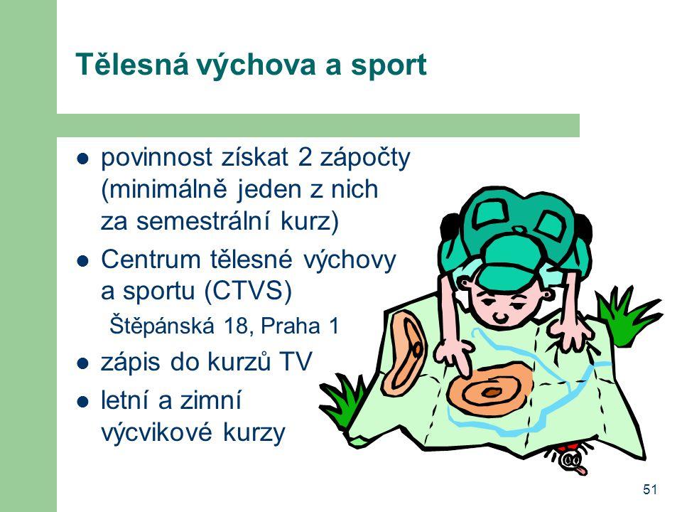 51 Tělesná výchova a sport povinnost získat 2 zápočty (minimálně jeden z nich za semestrální kurz) Centrum tělesné výchovy a sportu (CTVS) Štěpánská 18, Praha 1 zápis do kurzů TV letní a zimní výcvikové kurzy
