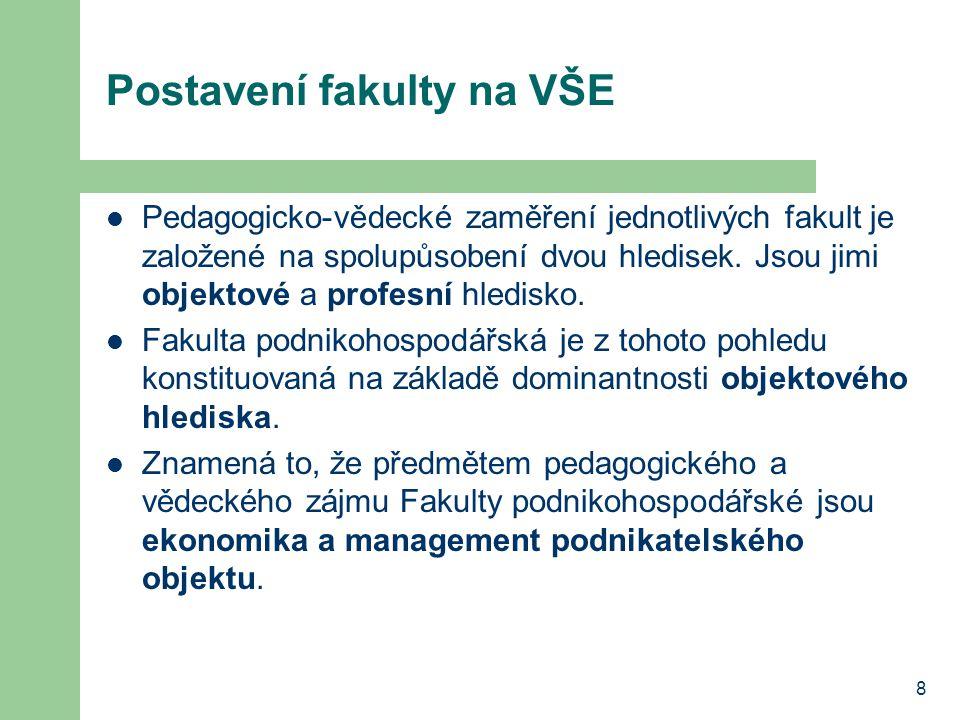 8 Postavení fakulty na VŠE Pedagogicko-vědecké zaměření jednotlivých fakult je založené na spolupůsobení dvou hledisek.