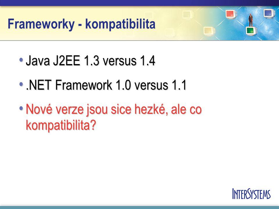 Frameworky - kompatibilita Java J2EE 1.3 versus 1.4 Java J2EE 1.3 versus 1.4.NET Framework 1.0 versus 1.1.NET Framework 1.0 versus 1.1 Nové verze jsou sice hezké, ale co kompatibilita.