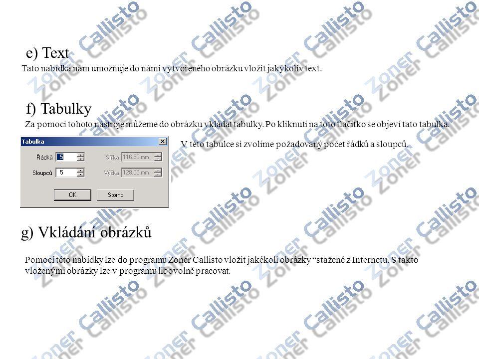 e) Text Tato nabídka nám umožňuje do námi vytvořeného obrázku vložit jakýkoliv text. f) Tabulky Za pomoci tohoto nástroje můžeme do obrázku vkládat ta