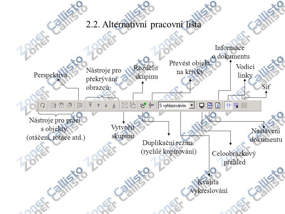 2.2. Alternativní pracovní lišta Nástroje pro práci s objekty. (otáčení, rotace atd.) Nástroje pro překrývání obrazců. Perspektiva Vytvořit skupinu Ro