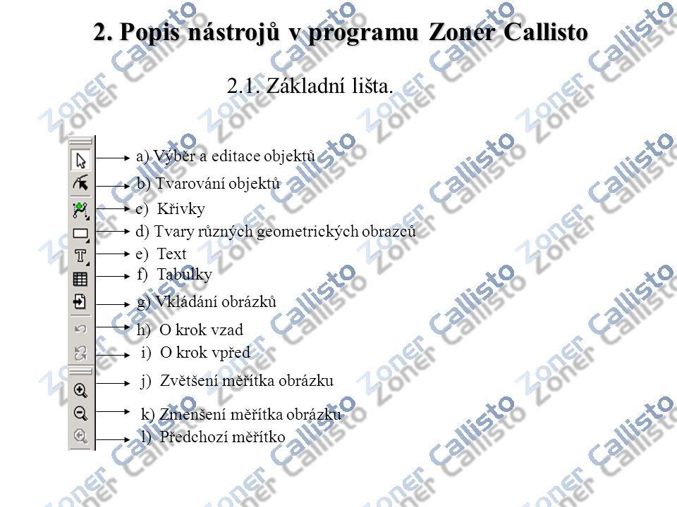 2. Popis nástrojů v programu Zoner Callisto a) Výběr a editace objektů b) Tvarování objektů 2.1. Základní lišta. c) Křivky d) Tvary různých geometrick