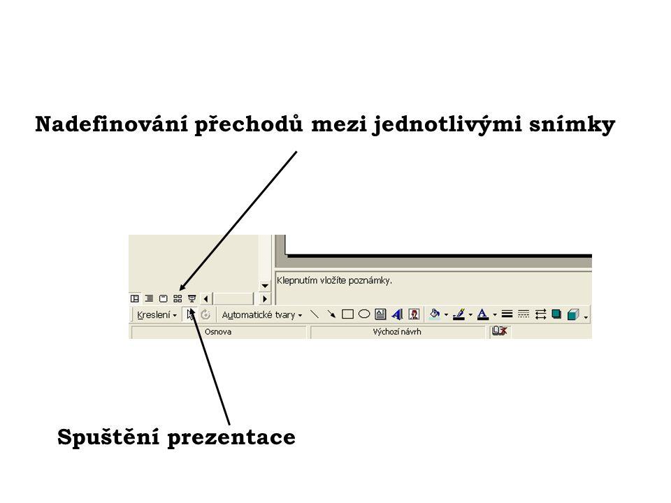 Nadefinování přechodů mezi jednotlivými snímky Spuštění prezentace