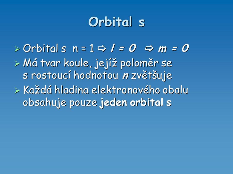 Orbital s  Orbital s n = 1  l = 0  m = 0  Má tvar koule, jejíž poloměr se s rostoucí hodnotou n zvětšuje  Každá hladina elektronového obalu obsah