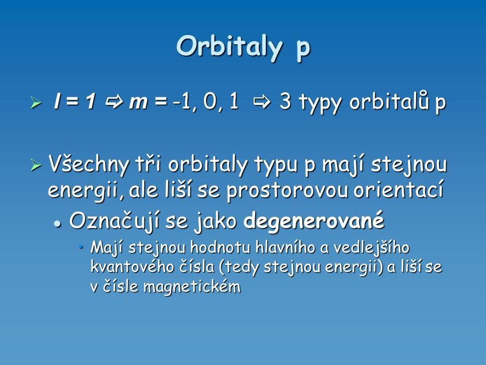 Orbitaly p  l = 1  m = -1, 0, 1  3 typy orbitalů p  Všechny tři orbitaly typu p mají stejnou energii, ale liší se prostorovou orientací Označují s