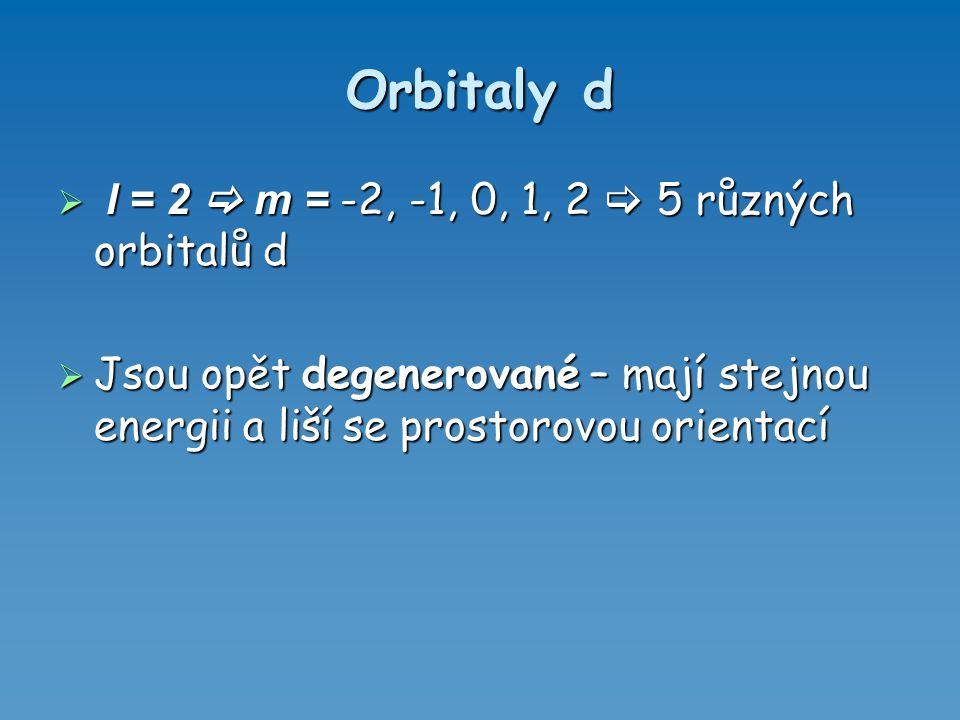 Orbitaly d  l = 2  m = -2, -1, 0, 1, 2  5 různých orbitalů d  Jsou opět degenerované – mají stejnou energii a liší se prostorovou orientací