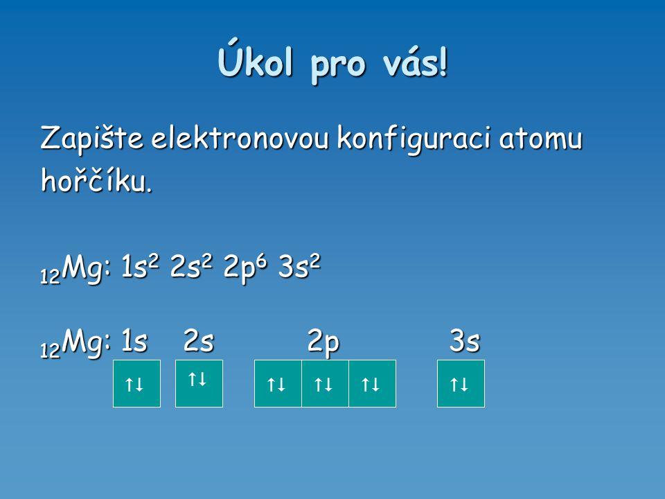 Úkol pro vás! Zapište elektronovou konfiguraci atomu hořčíku. 12 Mg: 1s 2 2s 2 2p 6 3s 2 12 Mg: 1s 2s 2p 3s 