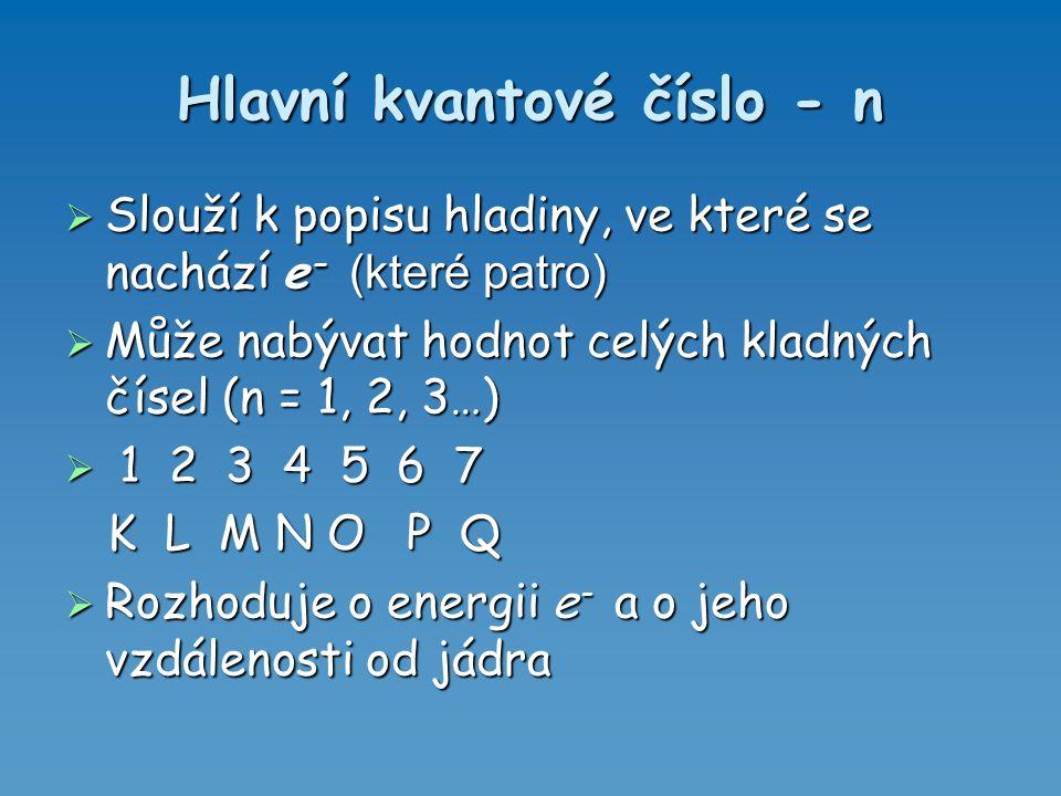 Hlavní kvantové číslo - n  Slouží k popisu hladiny, ve které se nachází e - (které patro)  Může nabývat hodnot celých kladných čísel (n = 1, 2, 3…)