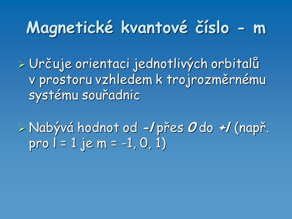 Magnetické kvantové číslo - m  Určuje orientaci jednotlivých orbitalů v prostoru vzhledem k trojrozměrnému systému souřadnic  Nabývá hodnot od -l př