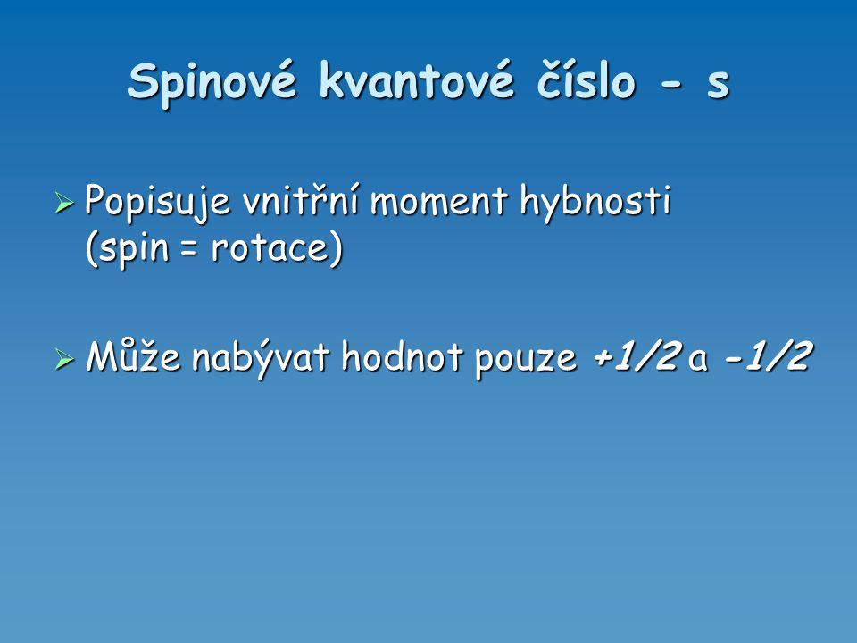 -2,-1,0,1,22 -1,0,11 00 3 1 00 2 001 Magnetické m l Vedlejší lHlavní n Kvantová čísla