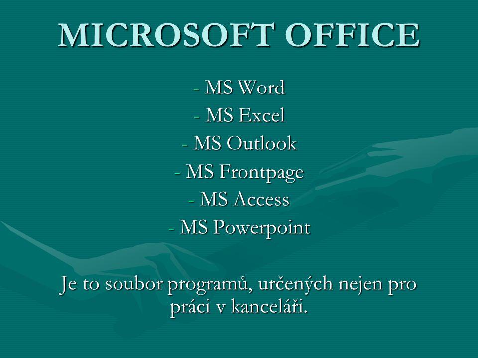MICROSOFT OFFICE - MS Word - MS Excel - MS Outlook - MS Frontpage - MS Access - MS Powerpoint Je to soubor programů, určených nejen pro práci v kancel