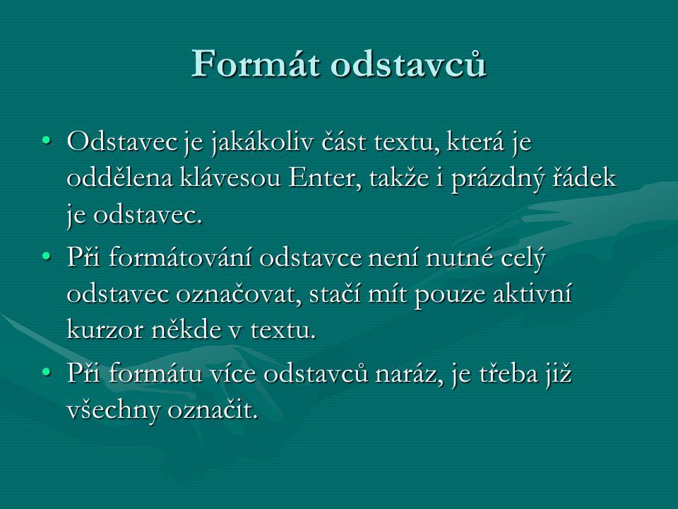 Formát odstavců Odstavec je jakákoliv část textu, která je oddělena klávesou Enter, takže i prázdný řádek je odstavec.Odstavec je jakákoliv část textu