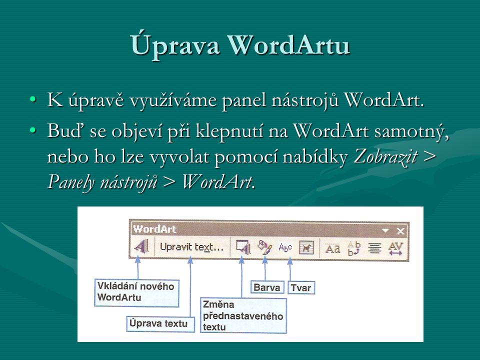 Úprava WordArtu K úpravě využíváme panel nástrojů WordArt.K úpravě využíváme panel nástrojů WordArt. Buď se objeví při klepnutí na WordArt samotný, ne