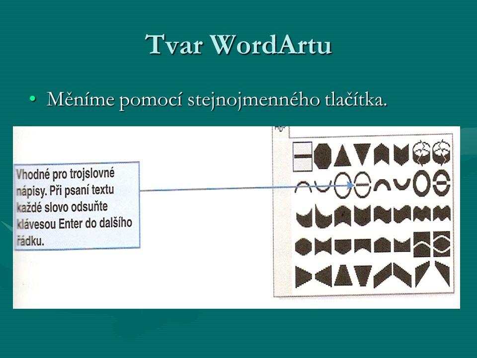 Tvar WordArtu Měníme pomocí stejnojmenného tlačítka.Měníme pomocí stejnojmenného tlačítka.