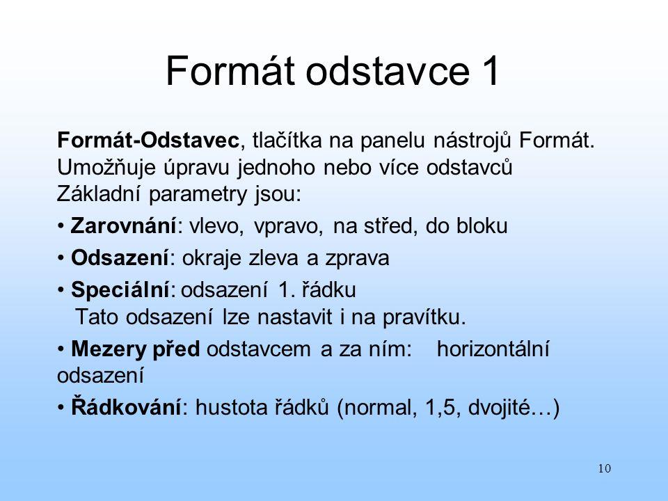 10 Formát odstavce 1 Formát-Odstavec, tlačítka na panelu nástrojů Formát. Umožňuje úpravu jednoho nebo více odstavců Základní parametry jsou: Zarovnán