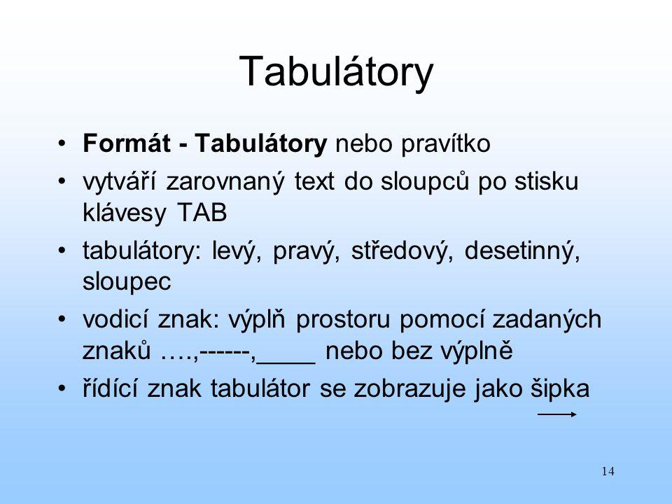 14 Tabulátory Formát - Tabulátory nebo pravítko vytváří zarovnaný text do sloupců po stisku klávesy TAB tabulátory: levý, pravý, středový, desetinný,