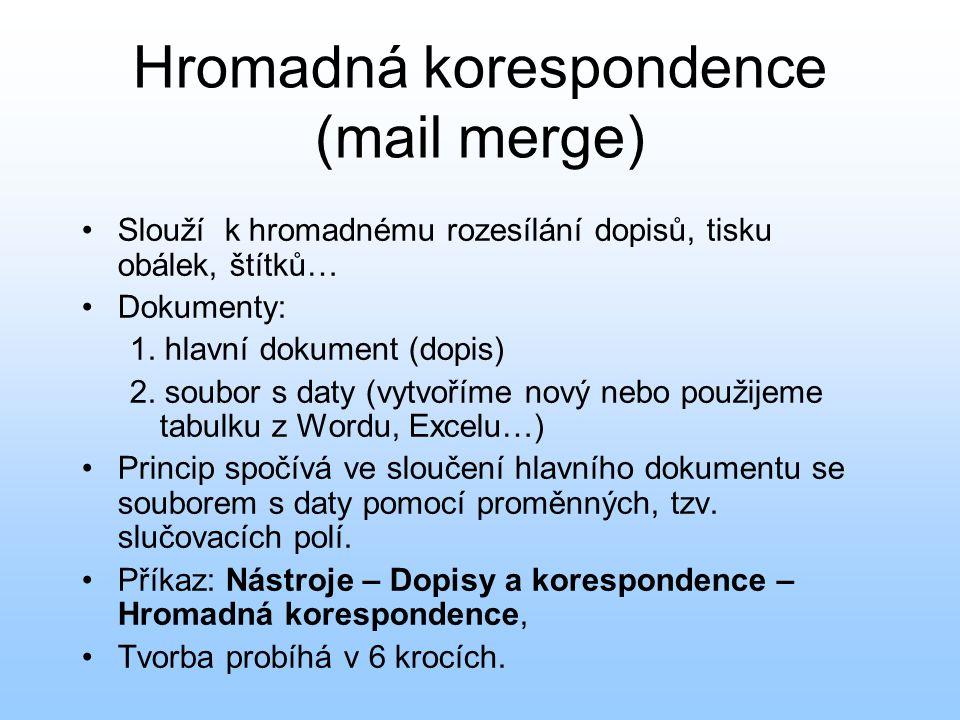 Hromadná korespondence (mail merge) Slouží k hromadnému rozesílání dopisů, tisku obálek, štítků… Dokumenty: 1. hlavní dokument (dopis) 2. soubor s dat