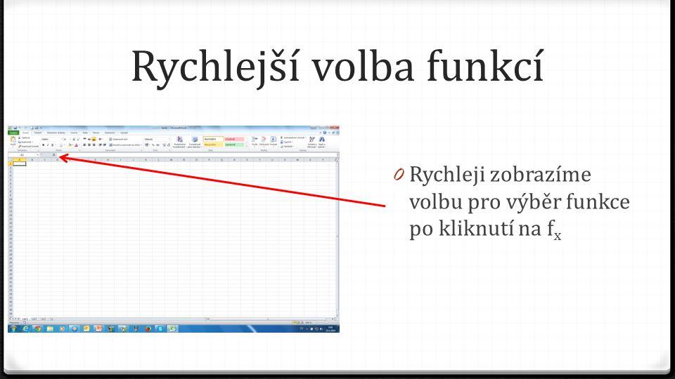Rychlejší volba funkcí 0 Rychleji zobrazíme volbu pro výběr funkce po kliknutí na f x