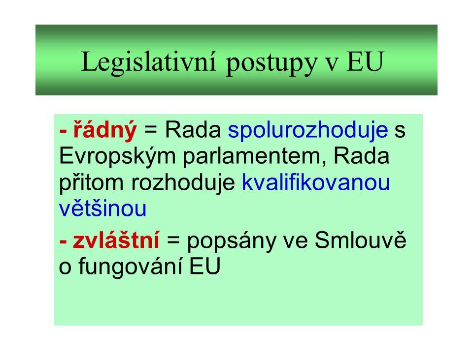 Legislativní postupy v EU - řádný = Rada spolurozhoduje s Evropským parlamentem, Rada přitom rozhoduje kvalifikovanou většinou - zvláštní = popsány ve Smlouvě o fungování EU