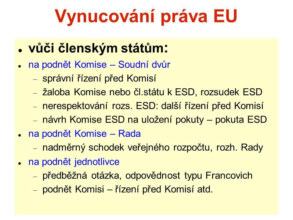 Vynucování práva EU vůči členským státům : na podnět Komise – Soudní dvůr  správní řízení před Komisí  žaloba Komise nebo čl.státu k ESD, rozsudek ESD  nerespektování rozs.