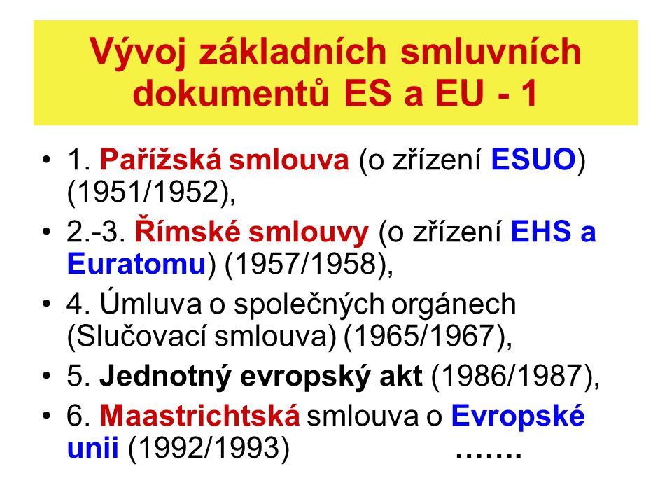 Vývoj základních smluvních dokumentů ES a EU - 2 7.
