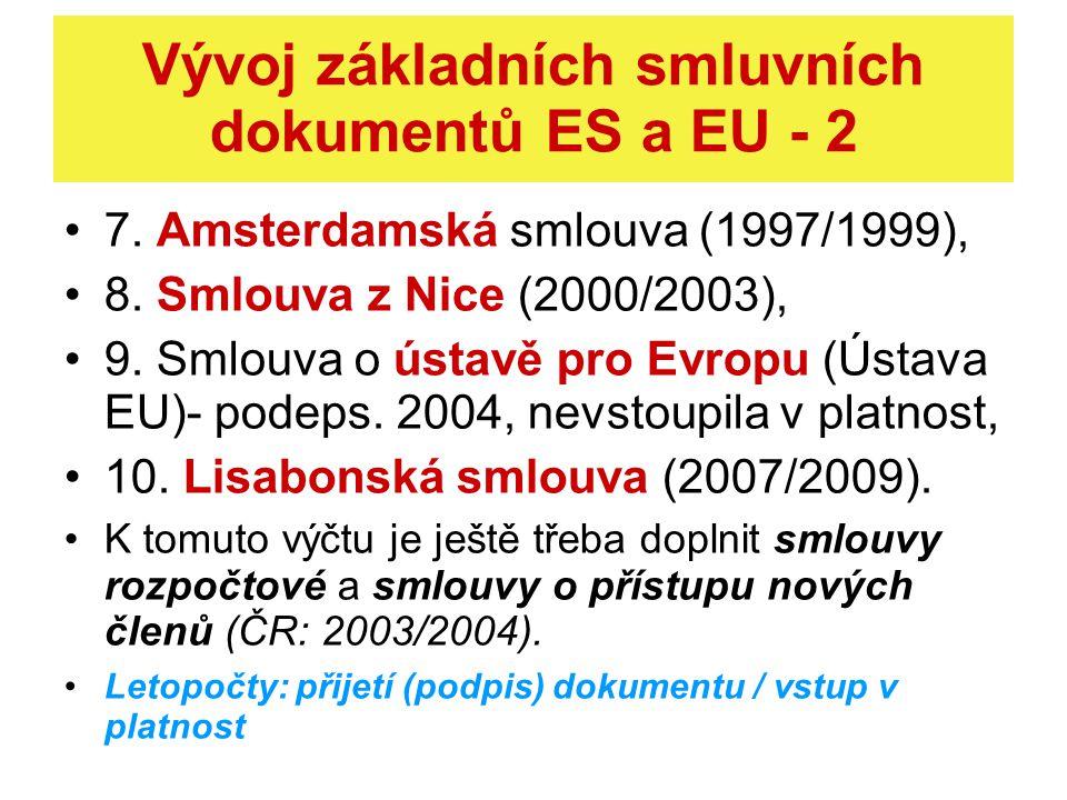 Přehled vývoje ES a EU - 1 1952 - vznik ESUO, nadstátní organizace 1958 - vznik EHS a EURATOMu, nadstátních organizací 1993 - vznik EU = zastřešení tří Společenství (tzv.