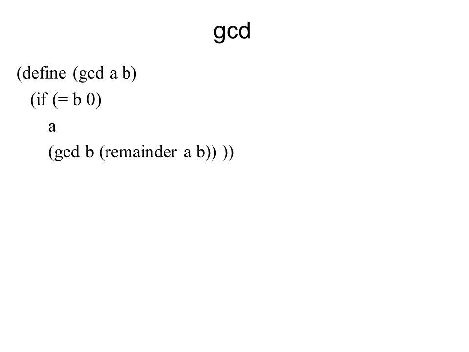 gcd (define (gcd a b) (if (= b 0) a (gcd b (remainder a b)) ))