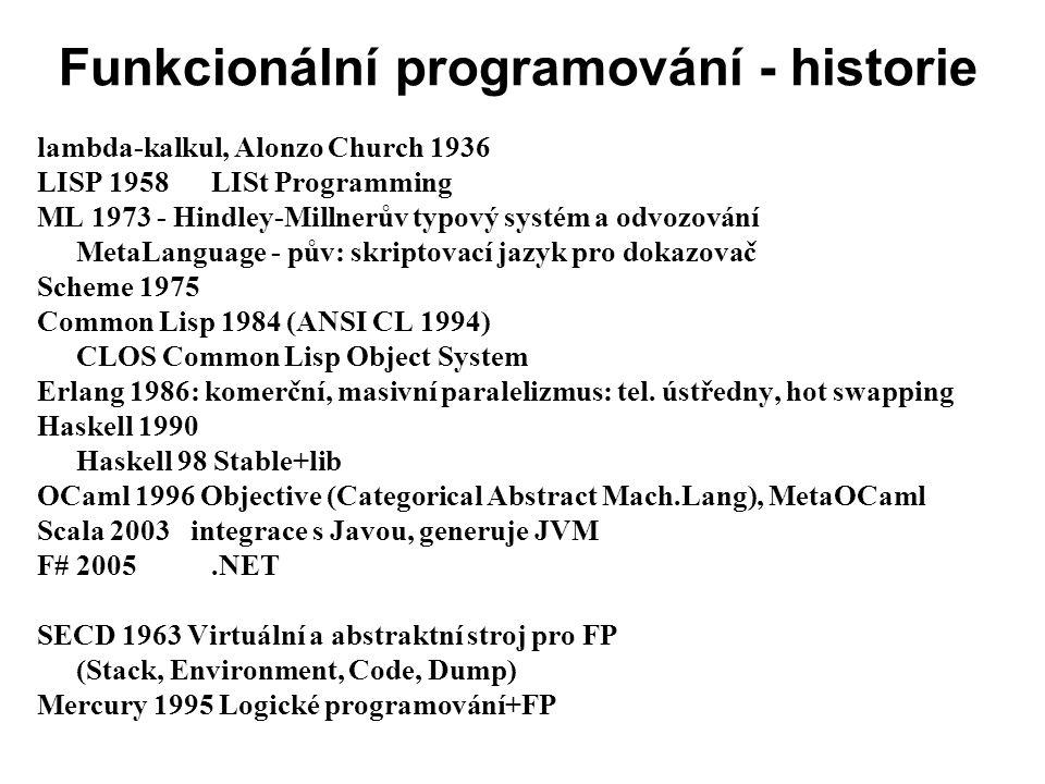 Funkcionální programování - historie lambda-kalkul, Alonzo Church 1936 LISP 1958LISt Programming ML 1973 - Hindley-Millnerův typový systém a odvozován