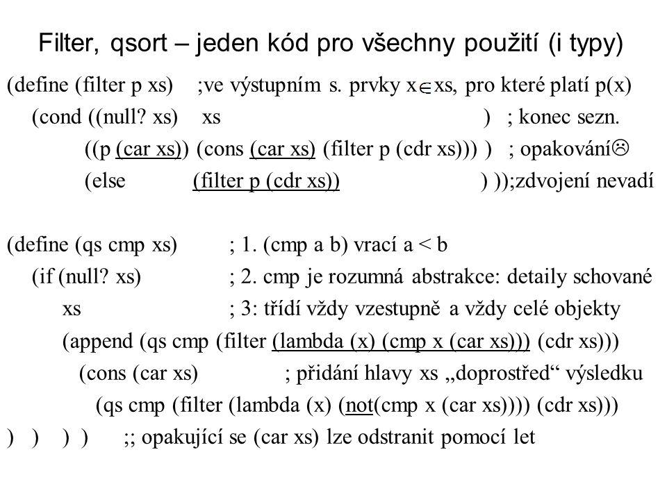 Filter, qsort – jeden kód pro všechny použití (i typy) (define (filter p xs) ;ve výstupním s. prvky x xs, pro které platí p(x) (cond ((null? xs) xs )