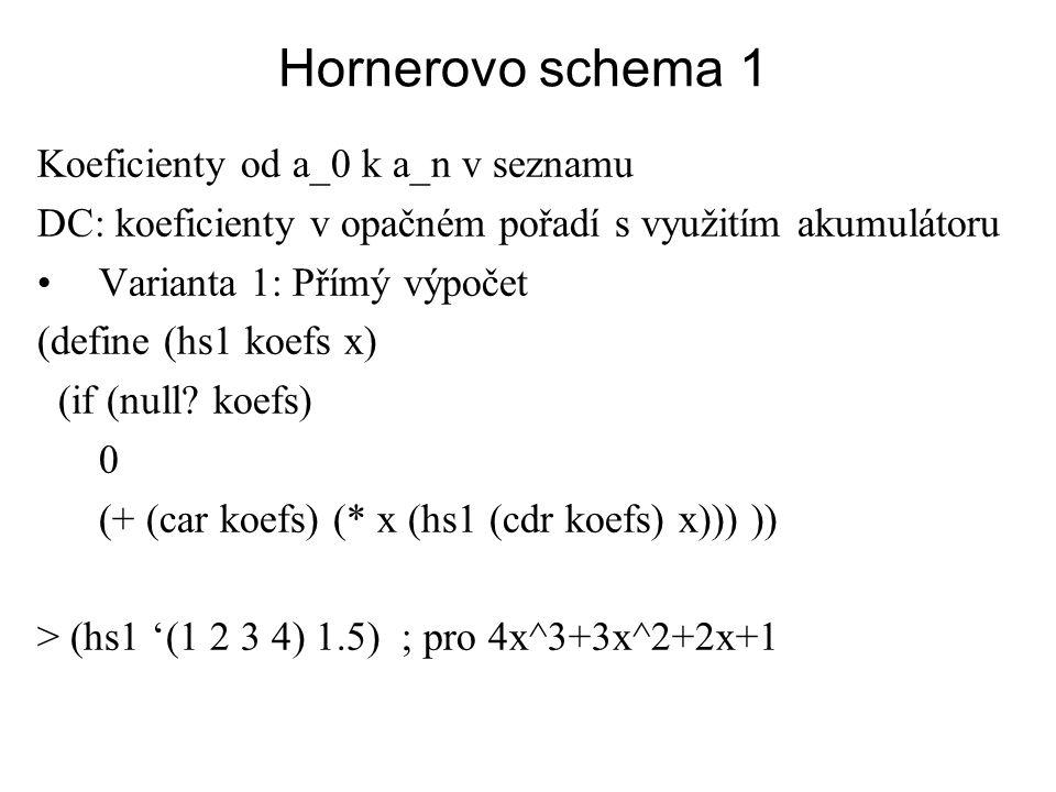 Hornerovo schema 1 Koeficienty od a_0 k a_n v seznamu DC: koeficienty v opačném pořadí s využitím akumulátoru Varianta 1: Přímý výpočet (define (hs1 k