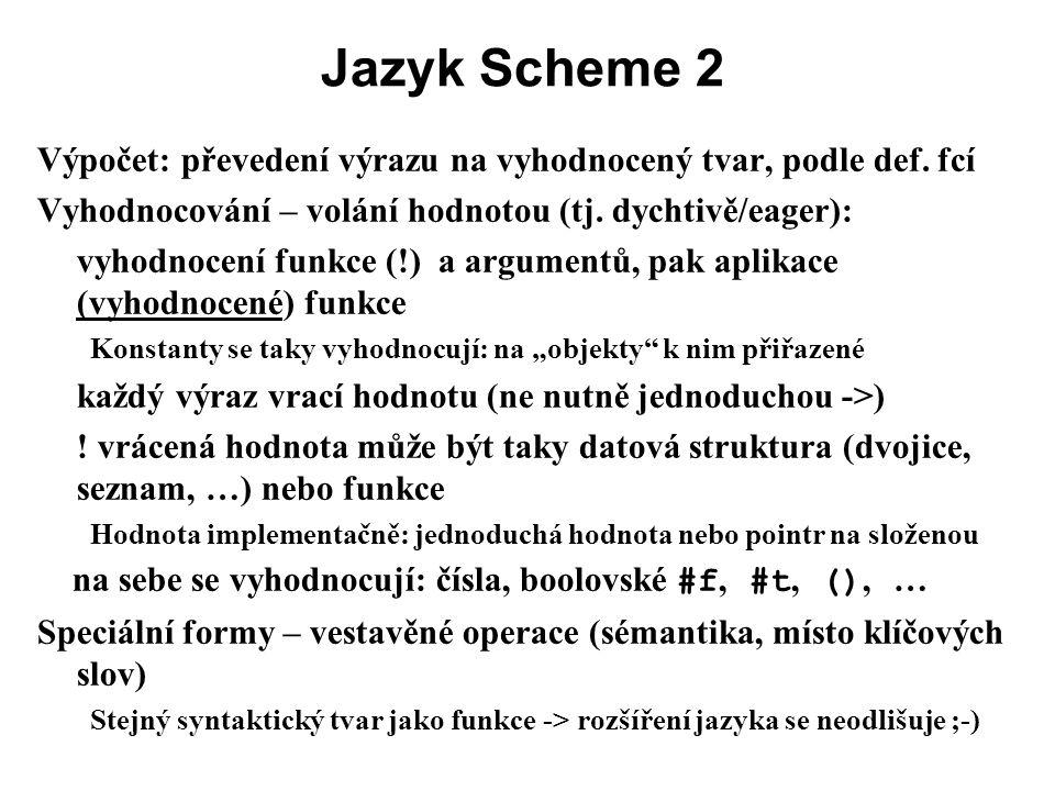 Jazyk Scheme 2 Výpočet: převedení výrazu na vyhodnocený tvar, podle def. fcí Vyhodnocování – volání hodnotou (tj. dychtivě/eager): vyhodnocení funkce