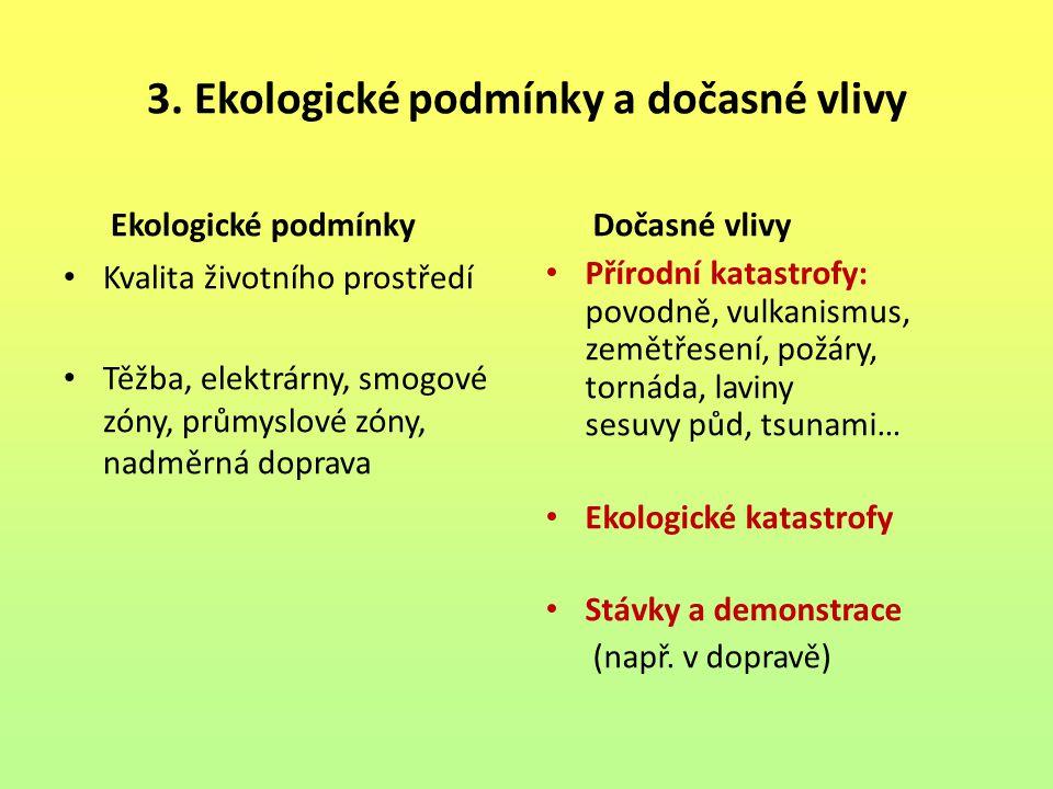 3. Ekologické podmínky a dočasné vlivy Ekologické podmínky Kvalita životního prostředí Těžba, elektrárny, smogové zóny, průmyslové zóny, nadměrná dopr