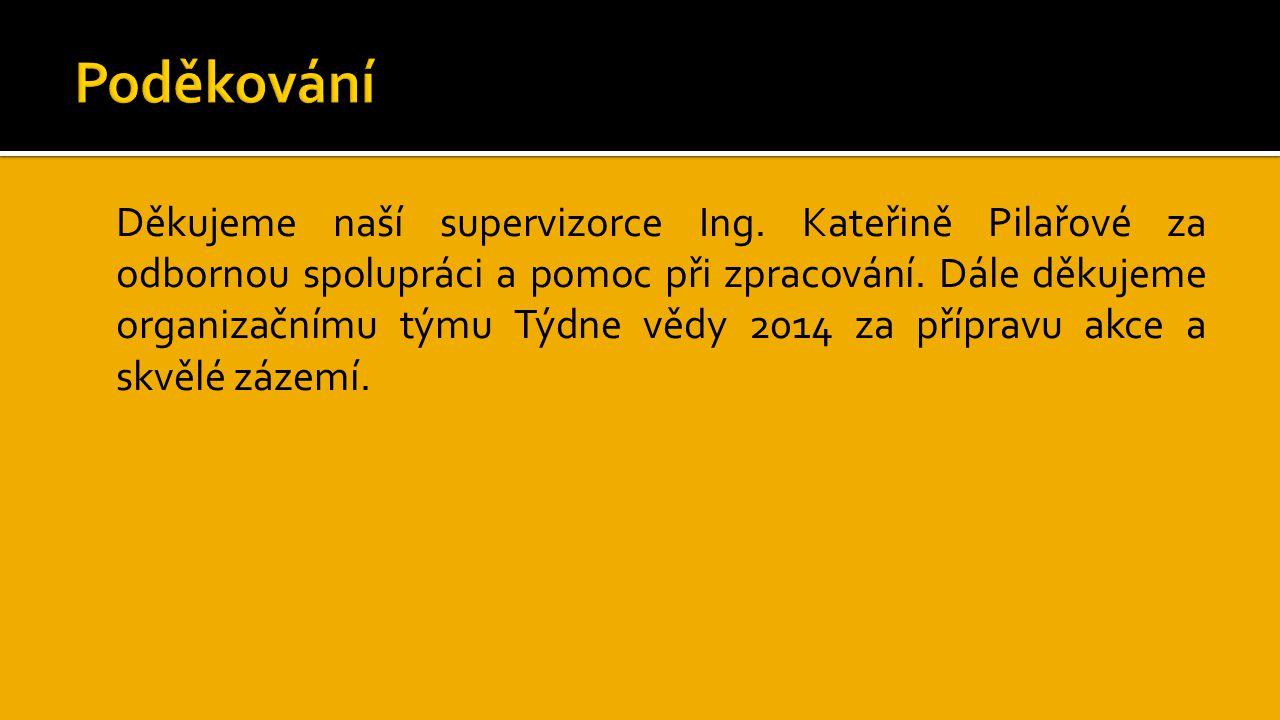 Děkujeme naší supervizorce Ing.Kateřině Pilařové za odbornou spolupráci a pomoc při zpracování.