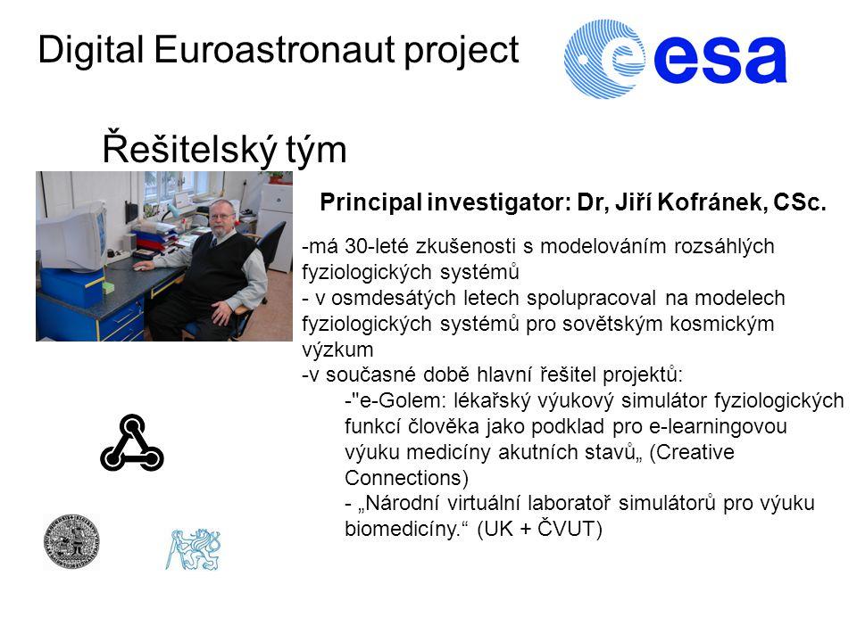 Digital Euroastronaut project Řešitelský tým Principal investigator: Dr, Jiří Kofránek, CSc.