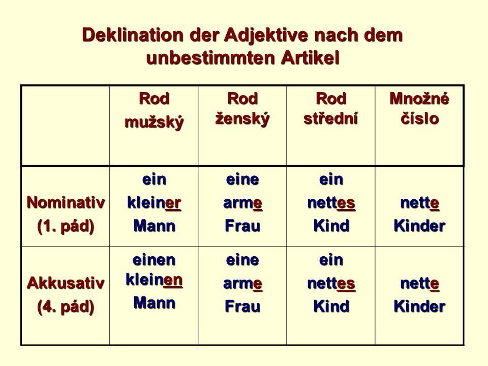 Deklination der Adjektive nach dem unbestimmten Artikel Rodmužský Rod ženský Rod střední Množné číslo Nominativ (1.