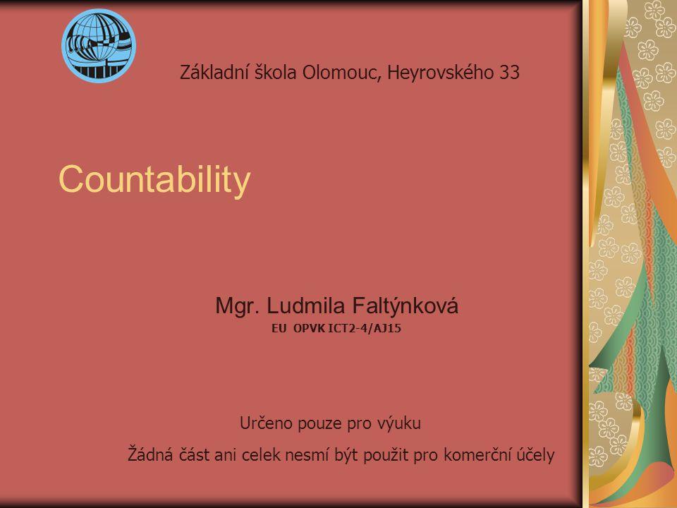 Countability Mgr. Ludmila Faltýnková EU OPVK ICT2-4/AJ15 Základní škola Olomouc, Heyrovského 33 Určeno pouze pro výuku Žádná část ani celek nesmí být