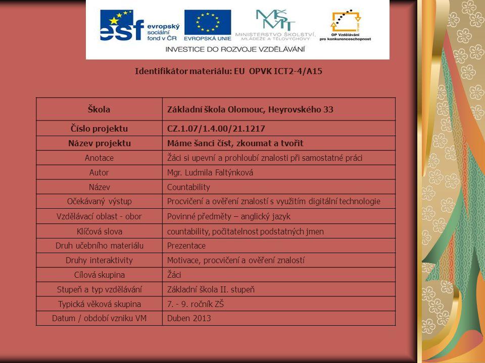 Identifikátor materiálu: EU OPVK ICT2-4/A15 ŠkolaZákladní škola Olomouc, Heyrovského 33 Číslo projektuCZ.1.07/1.4.00/21.1217 Název projektuMáme šanci číst, zkoumat a tvořit AnotaceŽáci si upevní a prohloubí znalosti při samostatné práci AutorMgr.