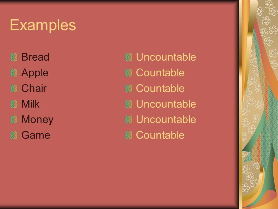 Examples Bread Apple Chair Milk Money Game Uncountable Countable Uncountable Countable