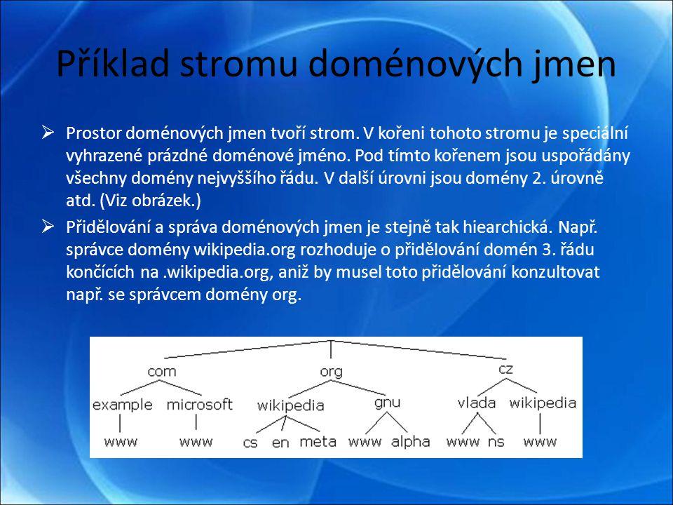 Příklad stromu doménových jmen  Prostor doménových jmen tvoří strom.