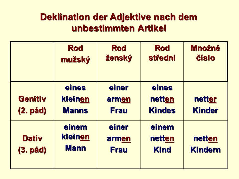Deklination der Adjektive nach dem unbestimmten Artikel Rodmužský Rod ženský Rod střední Množné číslo Genitiv (2.