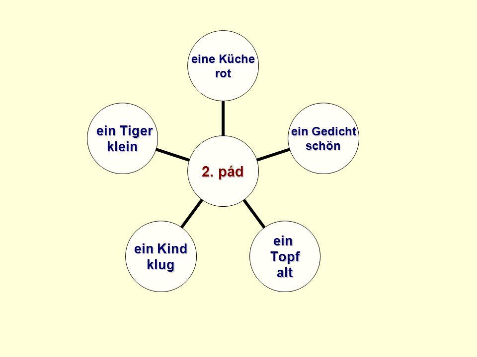 2. pád eine Küche rot ein Gedicht schön einTopfalt ein Kind klug ein Tiger ein Tigerklein