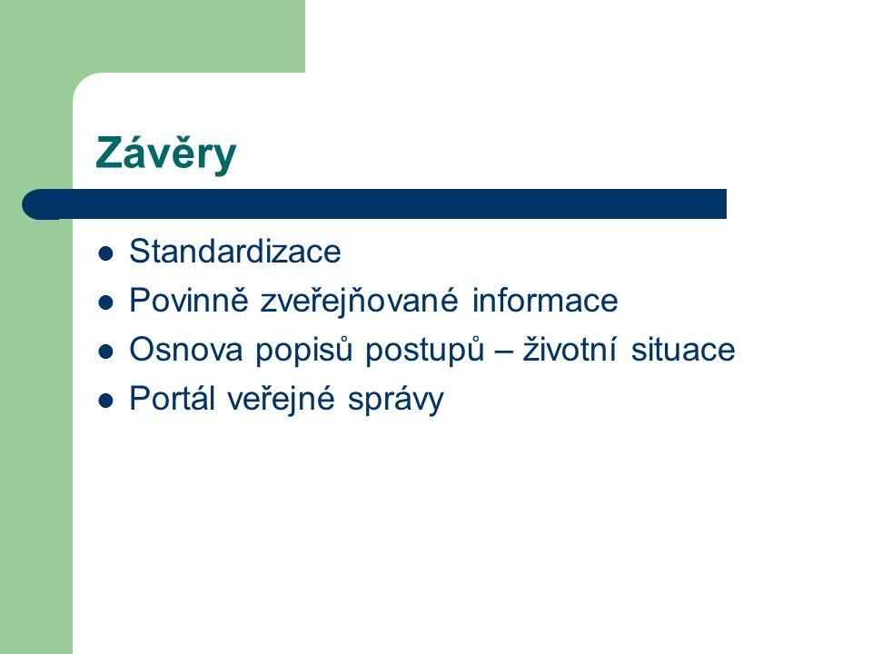 Závěry Standardizace Povinně zveřejňované informace Osnova popisů postupů – životní situace Portál veřejné správy