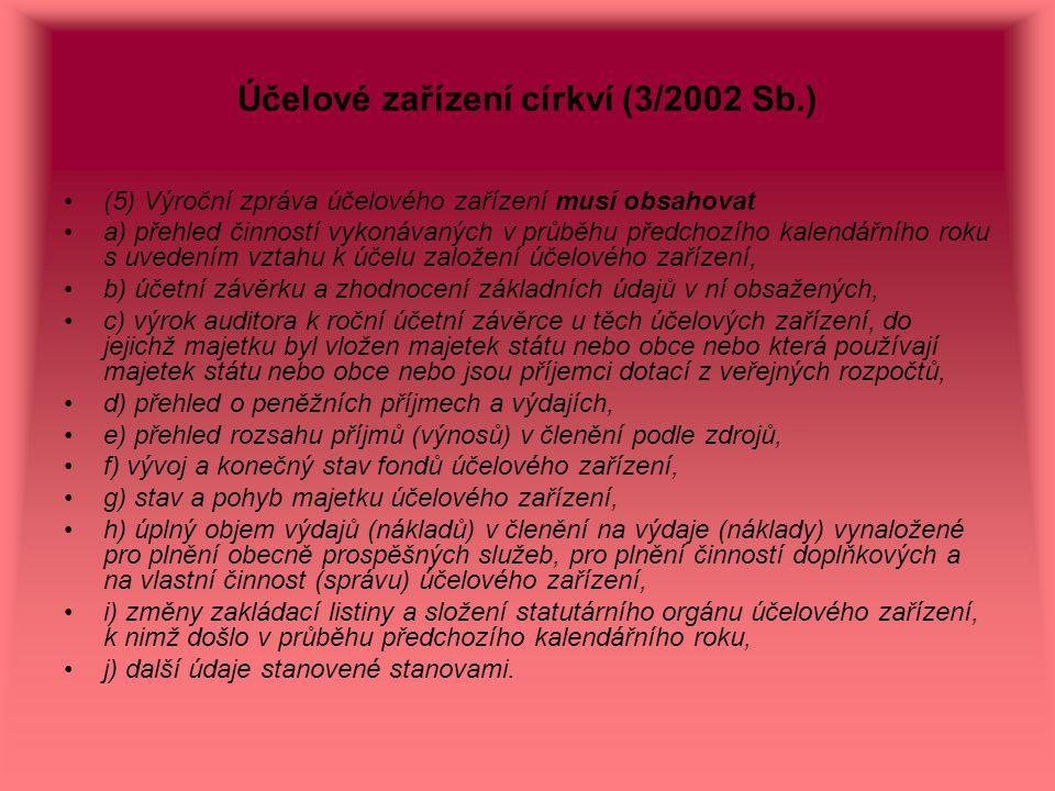 Účelové zařízení církví (3/2002 Sb.) (5) Výroční zpráva účelového zařízení musí obsahovat a) přehled činností vykonávaných v průběhu předchozího kalen
